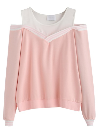 Pink Striped Contrast Open Shoulder Sweatshirt