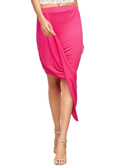 Falda asimétrica Slim Bodycon de Hot Pink