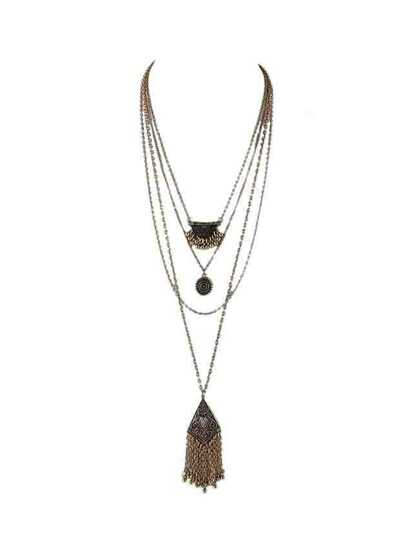 At-Gold Indian Design Multilayers Geometric Tassel Necklace For Lady