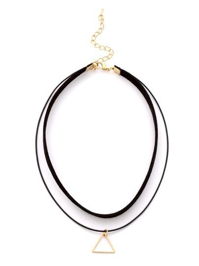 Doppelschicht Hohl Dreieck-Halskette-schwarz