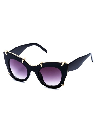 Black Frame Gold Trim Cat Eye Sunglasses