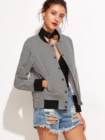 Contrast Trim Striped Single Breasted Jacket