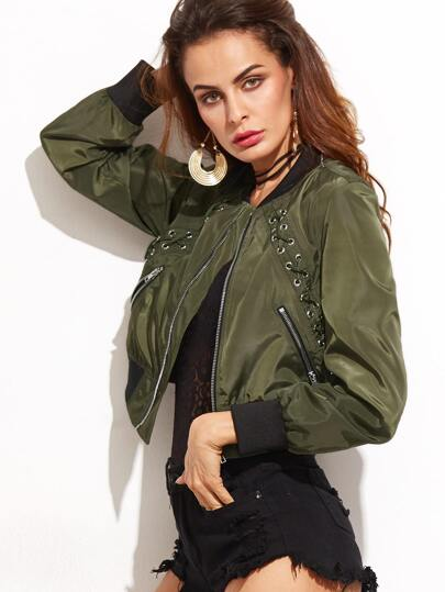 Army Green Eyelet Lace Up Contrast Trim Jacket