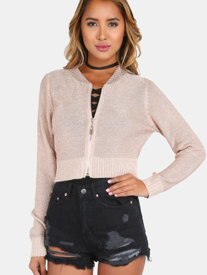 Cropped Metallic Knit Bomber Jacket ROSE GOLD