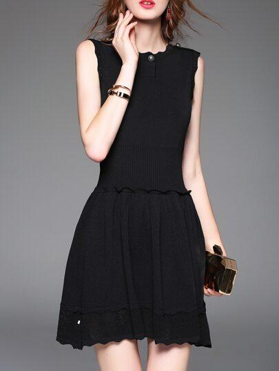 Vestido línea A de malla con volantes - negro