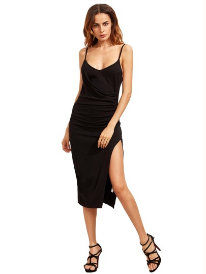 Black Spagettic Strap Ruched Split Sheath Dress