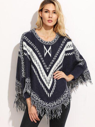 Navy Tribal Print Fringe Hem Asymmetric Poncho Sweater