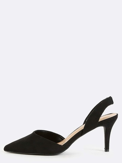 Pointy Toe Slingback Heels BLACK