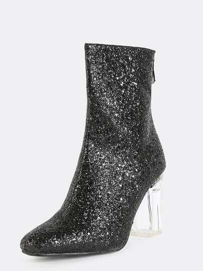 Glitter Perspex Ankle Booties BLACK