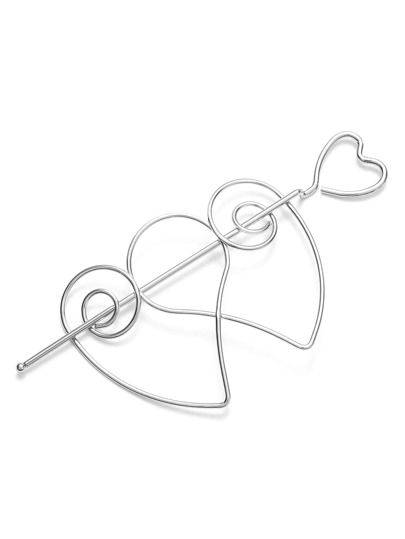 Silver Heart Hollow Out Hair Pin