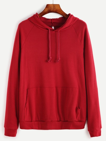 Burgundy Raglan Sleeve Hooded Sweatshirt