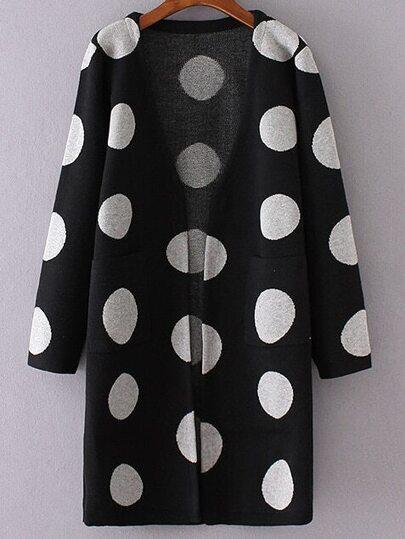 Black Polka Dot Collarless Long Sweater Coat