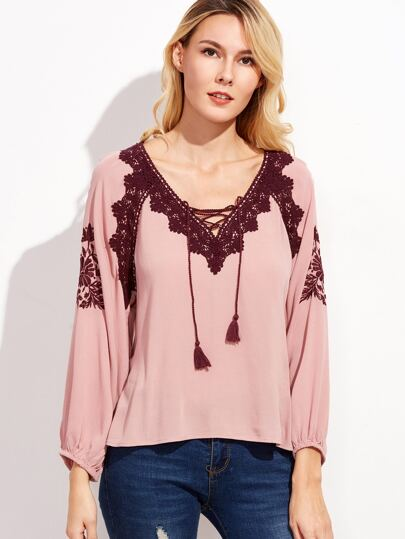 Pink Contrast Embroidered Crochet Tassel Tie Neck Blouse