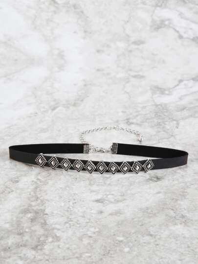 Metallic Diamond Studded Choker SILVER