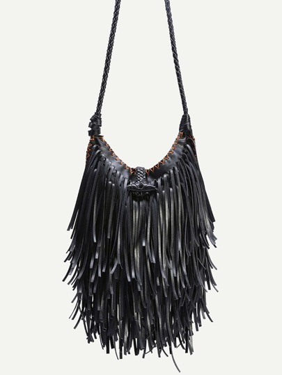 Black PU Tassel Fringe Crossbody Bag With Woven Strap