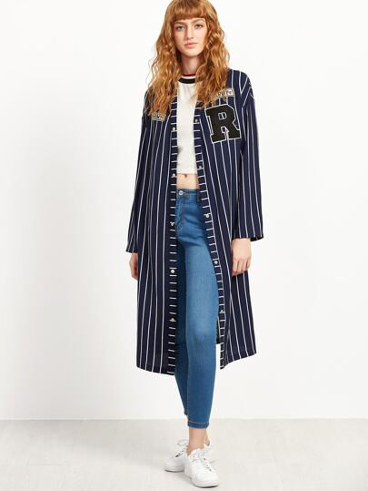 Navy Stripe Badge Button Duster Coat