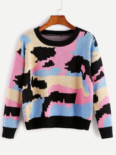 Multicolor Patchwork Ribbed Trim Sweater
