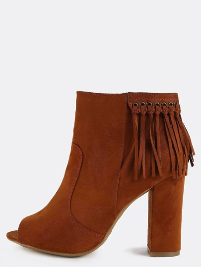 Peep Toe Fringe Ankle Booties CHESTNUT