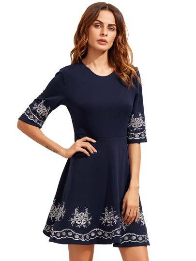 Navy Embroidered Half Sleeve Flare Dress
