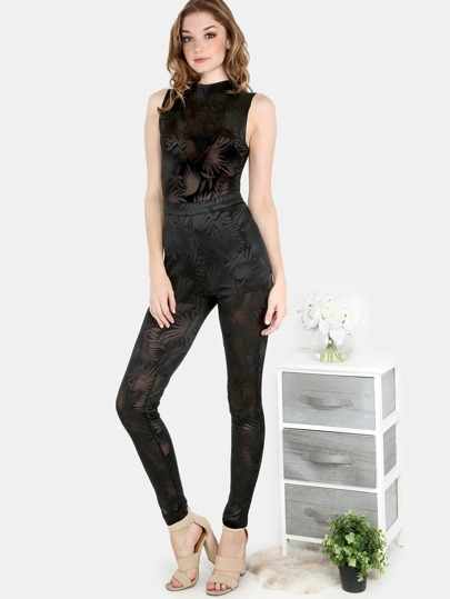 Meshed Mock Neck Stretch Jumpsuit BLACK