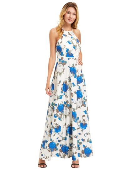 White Floral Print Halter Neck Maxi Dress