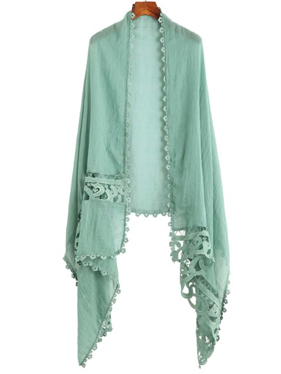 Green Applique Hollow Out Scarf