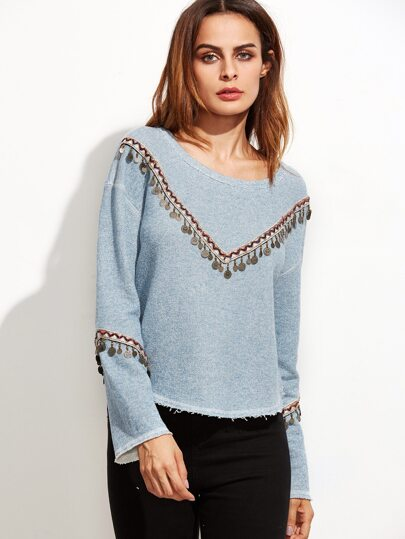 Blue Marled Knit Coin Fringe Trim T-shirt