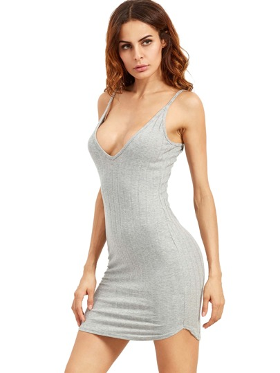 Grey Spaghetti Strap Bodycon Dress