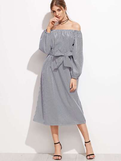 Vertical Striped Off The Shoulder Self Tie Dress