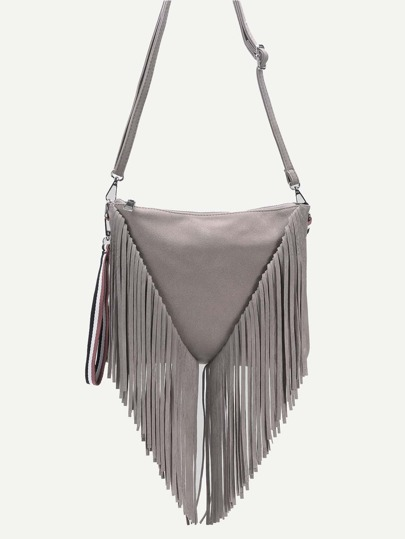 Grey PU Tassel Fringe Zip Closure Crossbody Bag