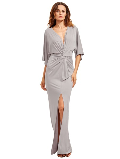 Light Grey Half Sleeve Knot Split Maxi Dress