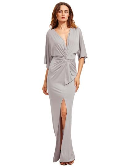 Gris claro mitad manga nudo Split Maxi vestido
