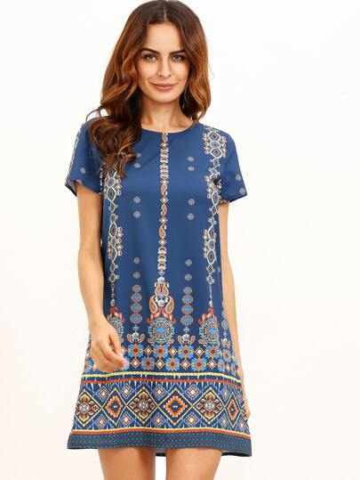 Orange In Blue Aztec Print Shift Dress