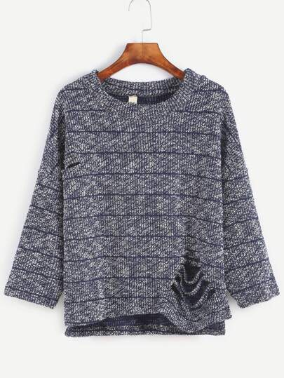 Navy Striped Ripped High Low Sweater