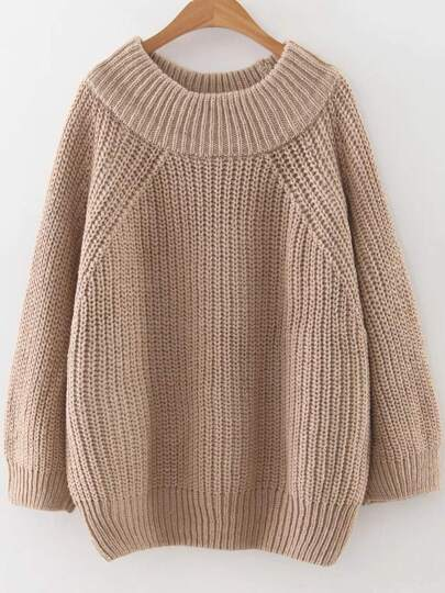Khaki Ribbed Trim Round Neck Raglan Sleeve Sweater