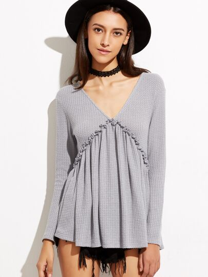 Grey Lace Up Back Frill Detail Waffle Knit Babydoll T-shirt