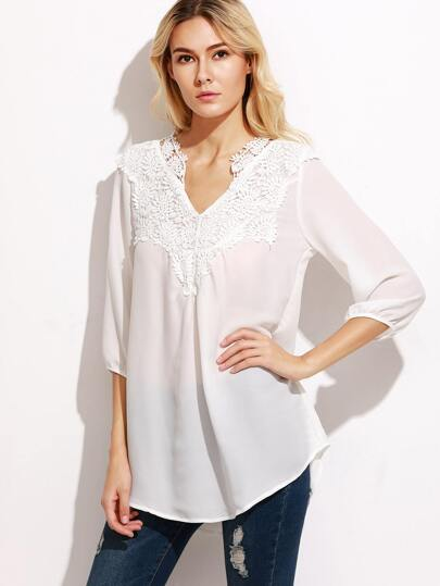 White Crochet Trim Chiffon Blouse