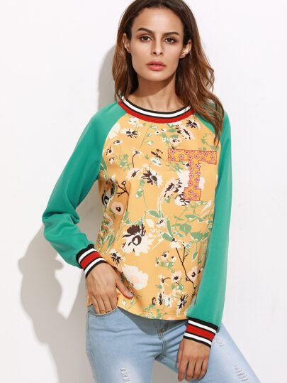 Color Block Flower Print Striped Trim Sweatshirt