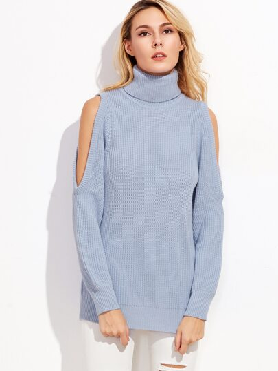 Blue Turtleneck Open Shoulder Sweater