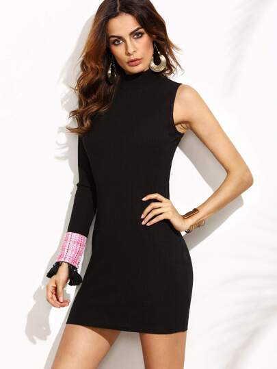 Black One Shoulder Dress With Tasseled Tweed Cuff