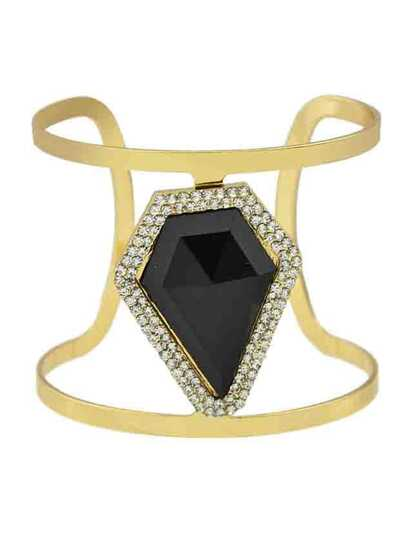 Black New Design Imitation Gemstone Wide Cuff Bracelet