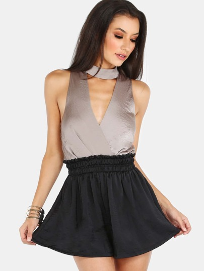 Choker Neck Color Contrast Romper GREY BLACK