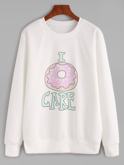 White Donut And Letter Print Sweatshirt