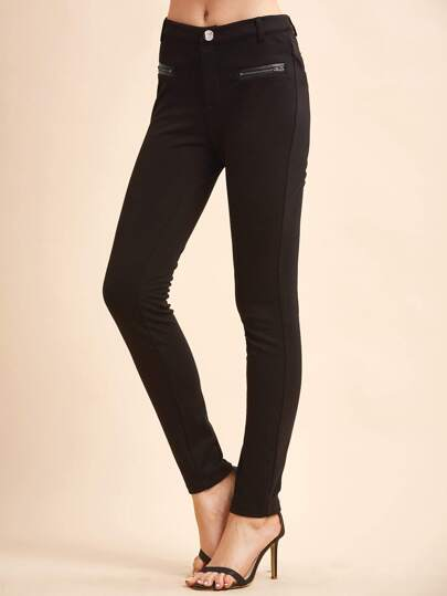 Black Skinny Pants With Zipper Pockets