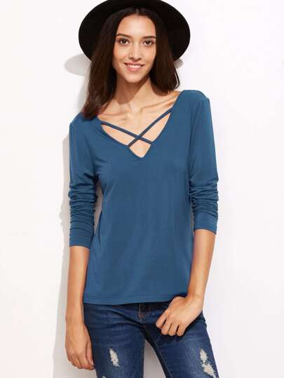 Bleu Criss Cross V Neck T-shirt