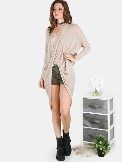 Sleeved Slouchy Wrapover Top TAUPE