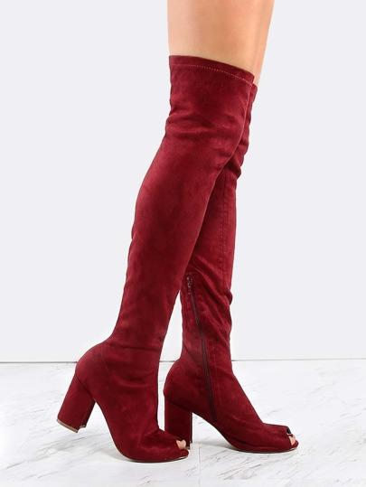 Thigh High Chunky Heel Boots WINE