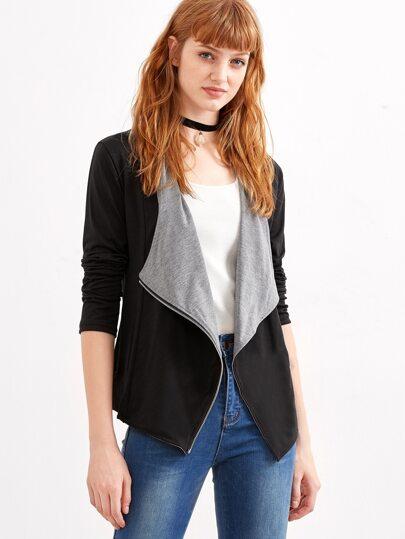 Black Shawl Collar Zipper Coat