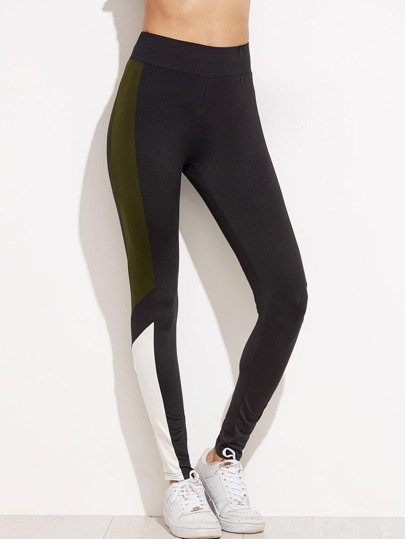 Grey Contrast Panel Leggings