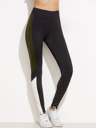 Leggings panel en contraste - gris